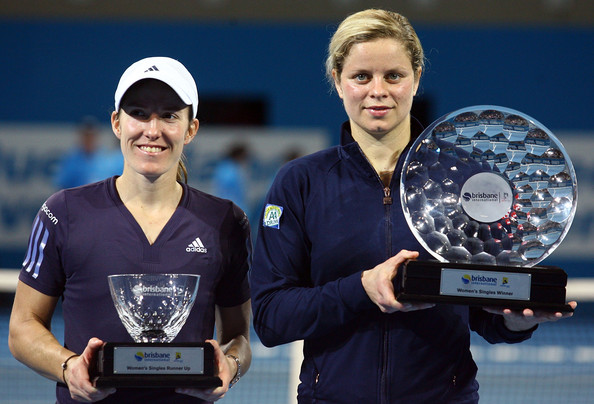 Belgium tennis stars Justine Henin (L) and Kim Clijsters (R), friends, teammates and arch rivals for much of their brilliant careers